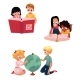 Kids, Children Reading, Studying, Learning