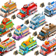Isolated Fast Food Truck Van Vector 3D Isometric Vehicle Set