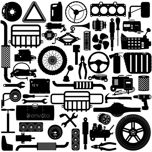 Vector Car Parts Pictogram