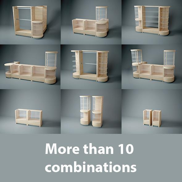 3DOcean 14 Modular Wooden furniture for shop 20129215