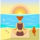 Woman Meditating on a Beach. Vector Illustration