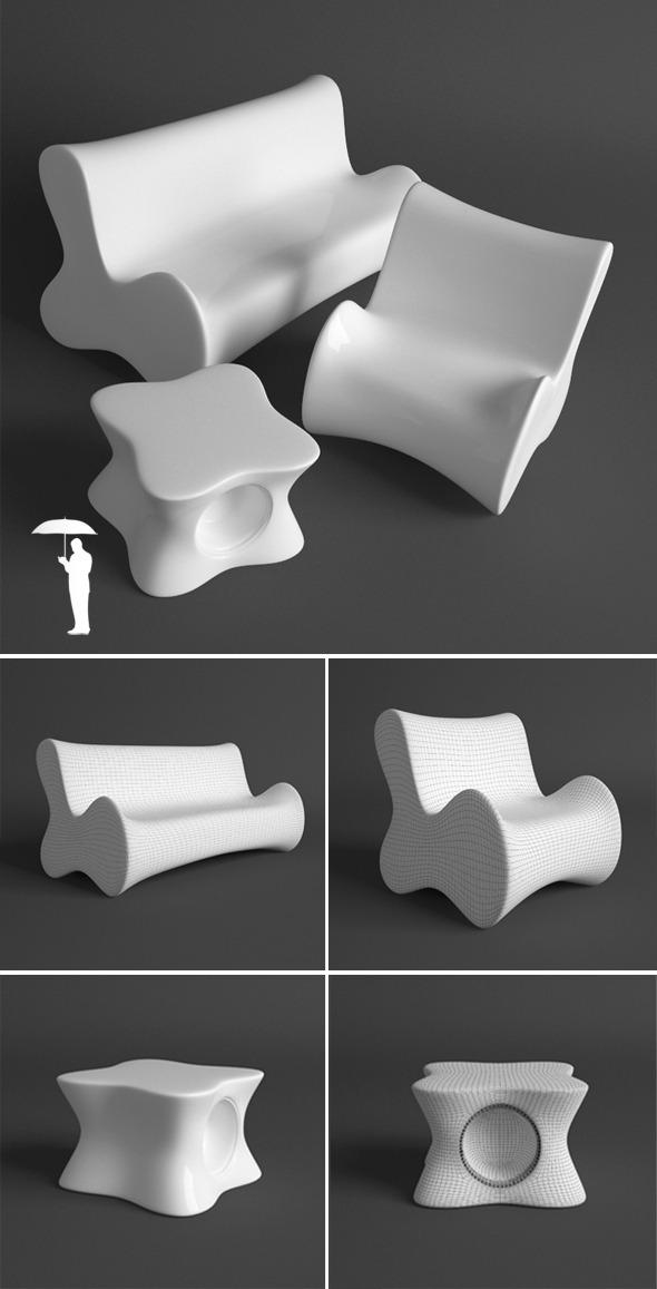 Vondom Doux set - 3DOcean Item for Sale