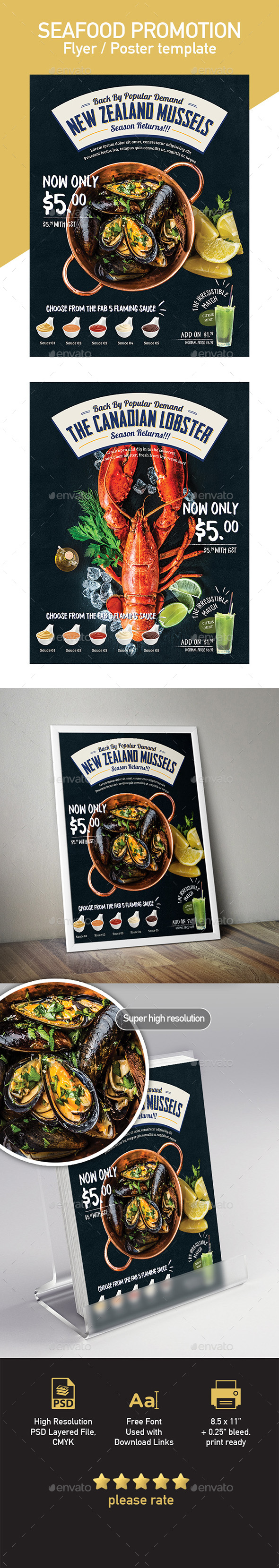 Seafood Poster / Flyer Menu Template