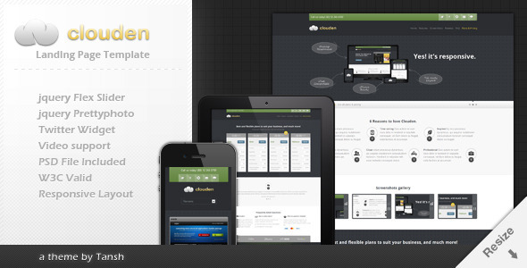 Clouden responsive landing one page template for Jquery landing page templates