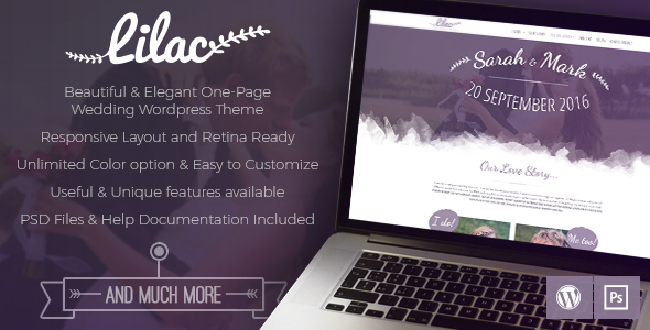Image of Lilac - One-page Wedding WordPress Theme