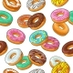 Seamless Pattern Set Donut with Different Icing