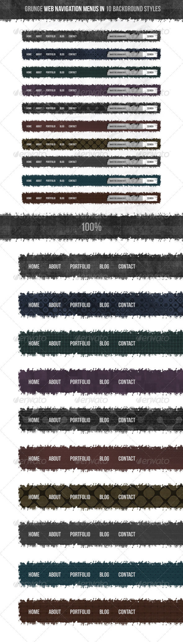 Grunge Web Navigation Menus - Navigation Bars Web Elements