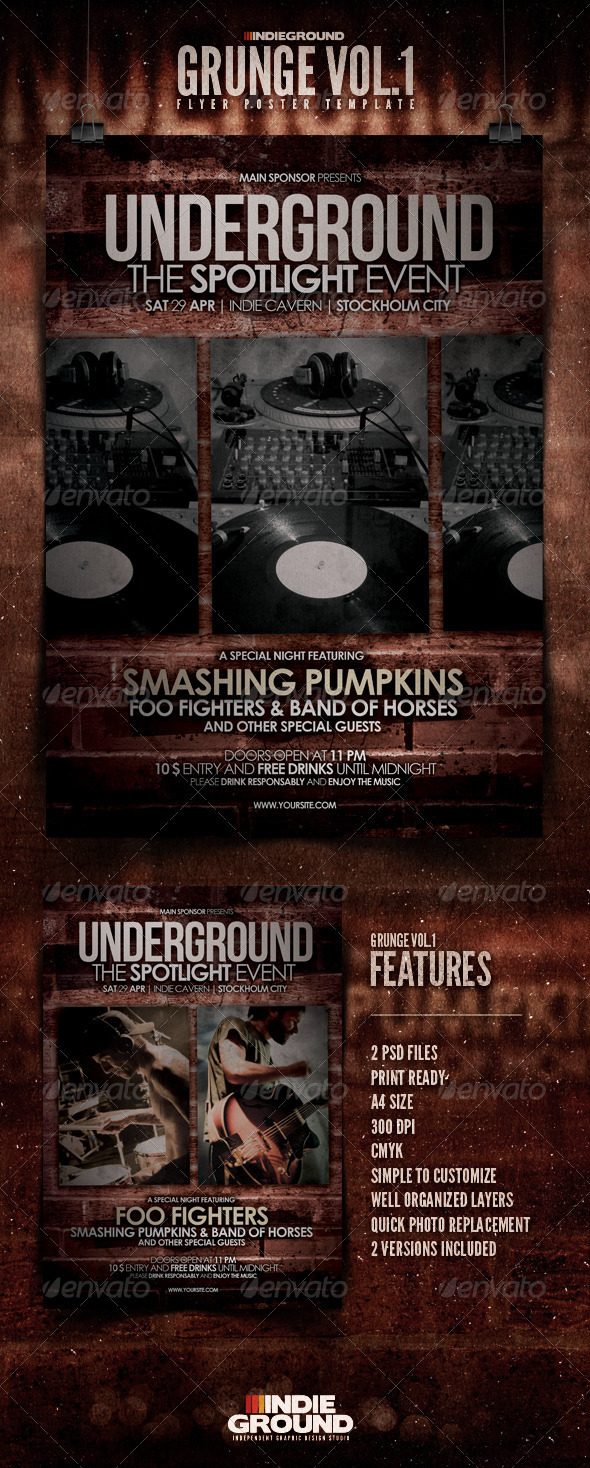 Grunge Flyer/Poster - Clubs & Parties Events