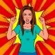 Angry Woman Pop Art Vector Illustration