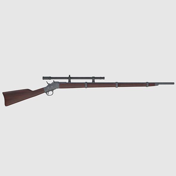 3DOcean Remington Rolling Block Rifle Game Ready 20140141