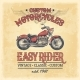 Vector Illustration of a Vintage Poster with Motorcycle