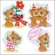 Set of Vector Clip Art Illustrations of Brown Bears