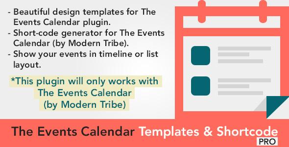 The Events Calendar Templates and Shortcode - WordPress Plugin