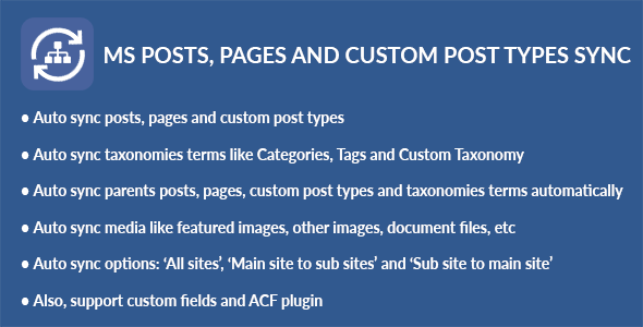 WordPress Multisite Posts, Pages and Custom Post Types Sync (Utilities) images