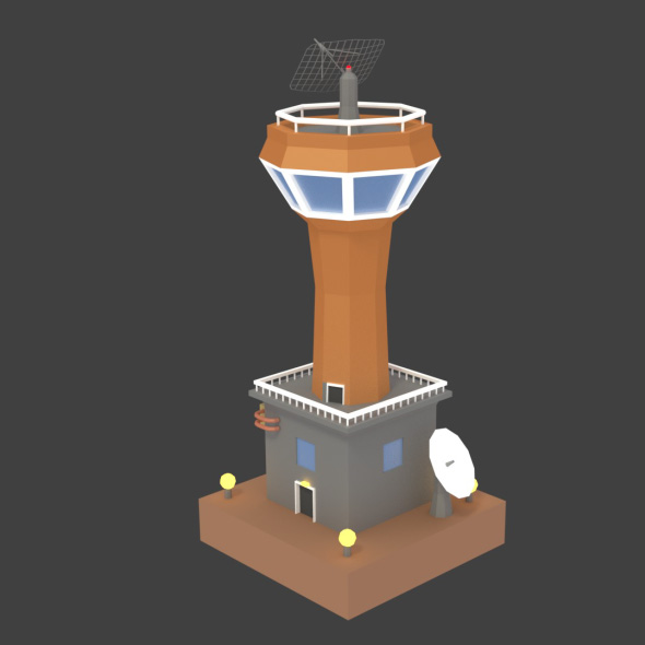 Low Poly Space Colony Tower