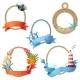 Set of Sea Frames. Ropes with Anchors, Seashells