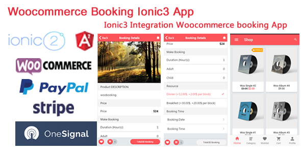 Ionic3 Integration with Woocommerce Booking App