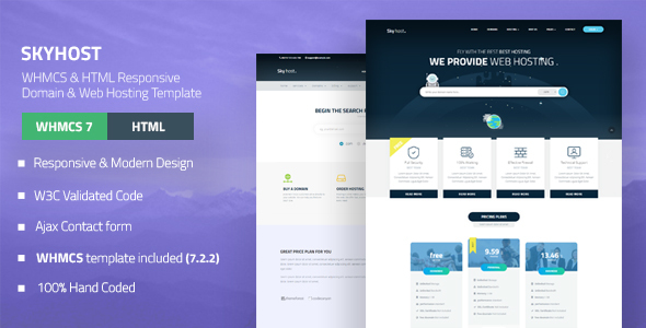 SKYHOST – WHMCS & HTML Responsive Domain & Web Hosting Template (Hosting) images