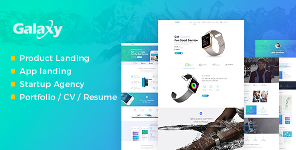 Galaxy – Product, Apps, Agency, Resume/Portfolio Landing Page (Technology) images