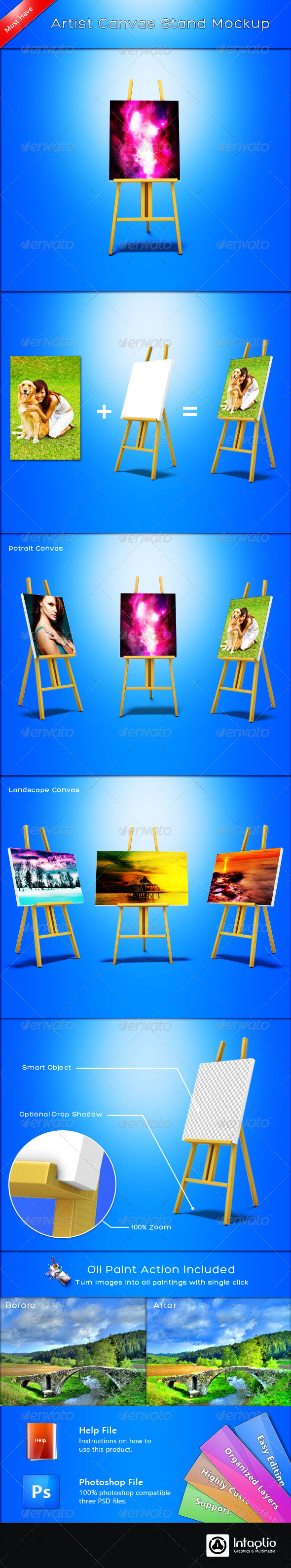 GraphicRiver Artist Canvas Stand Mockup 1969996