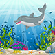 Illustration of Underwater Landscape with Dolphin
