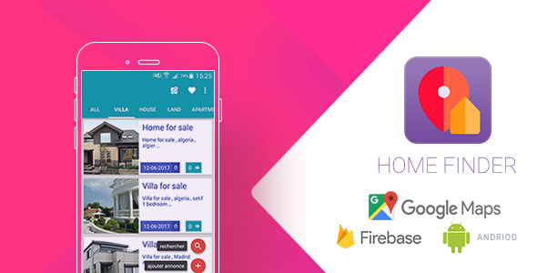 Home Finder Realtime Application with Firebase and Google Map