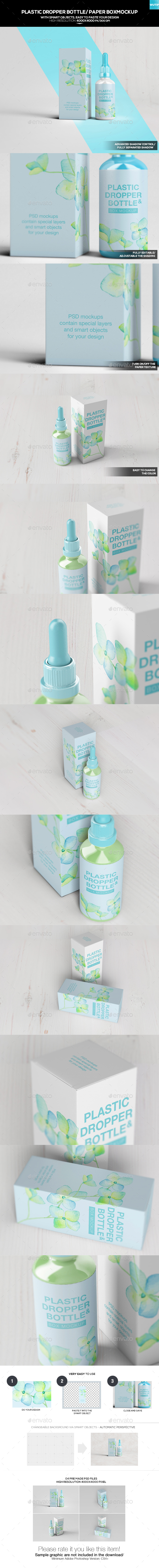 Plastic Dropper Bottle/ Paper Box Mockup
