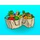 Eco Food in Paper Bags Pop Art Vector Illustration