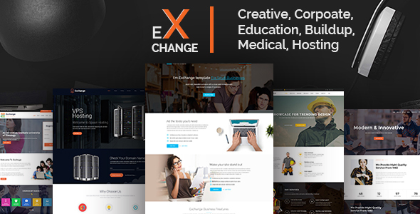 Exchange-Creative, Corpoate, Education, Buildup, Medical, Hosting- Landing Page PSD Template