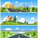 Scenic Road Through the Countryside. Vector
