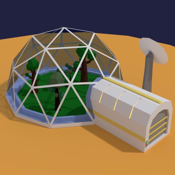 Low Poly Sci Fi Greenhouse