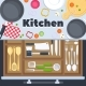Kitchen Design Vector Background with Cooking