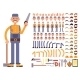 Cartoon Man Construction Worker in Jumpsuit Vector