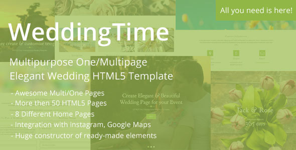 WeddingTime - Multipurpose One/Multipage Elegant Wedding HTML5 Template