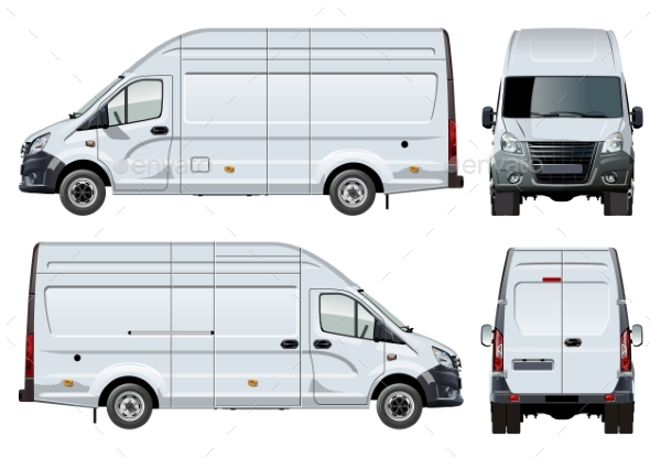 Vector Van Template Isolated on White