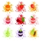 Juicy Ripe Fruits Splashing Set of Colorful