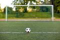 soccer ball and goal on football field