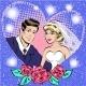 Vector Pop Art Illustration of Bride and Groom