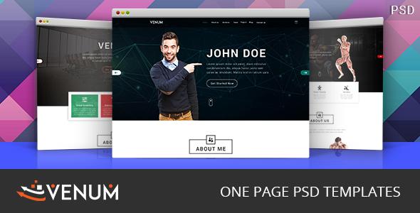 Venum One Page Creative Multipurpose PSD Template