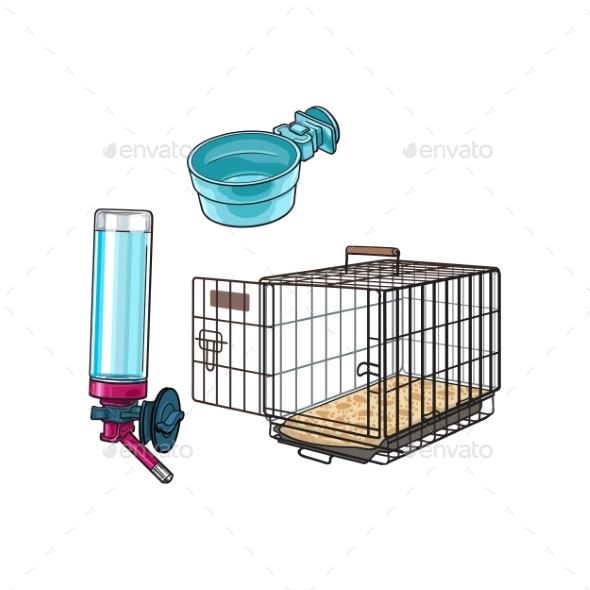 Metal Wire Pet Travel Carrier Feeding Bowl and Water