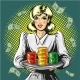 Vector Pop Art Illustration of Woman with Gambling