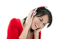 Brunette Woman Listenin to Music With Red Headphones