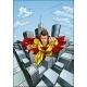 Flying Caped Superhero City Scene