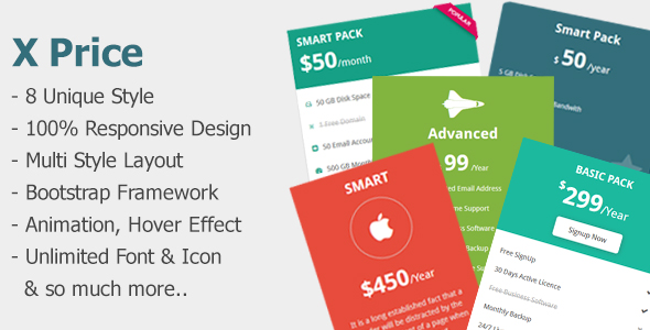 X Price - Creative Responsive Pricing Tables