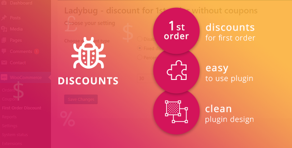 Ladybug – discount for 1st order without coupons (WooCommerce) images