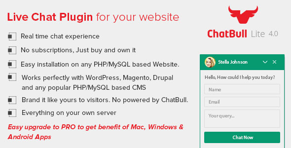 ChatBull Lite – PHP Live Chat (Help and Support Tools) images
