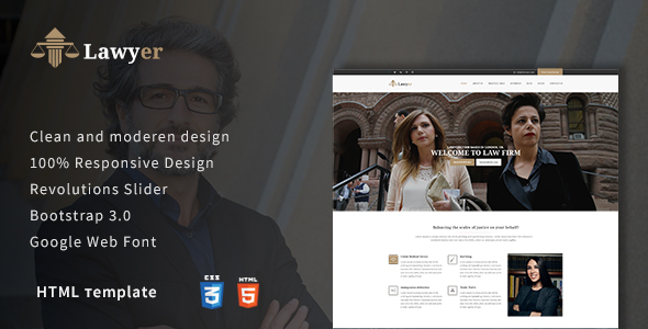 Download Lawyer - Law Firm Responsive HTML Template