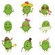 Cactus Cartoon Characters Set