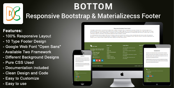Bottom - Responsive HTML Bootstrap and Materializecss Footer - CodeCanyon Item for Sale