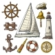 Anchor, Wheel, Sailing Ship and Compass Rose